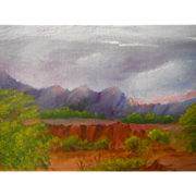 Arizona Southwestern Desert Monsoon Red Rock Landscape Original Oil Painting by Ethel Musett ~ 1978