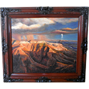 Texas Afternoon Thunderstorm at Big Bend ~ Southwest Red Rock Desert Landscape Original Oil on Canvas Large Painting