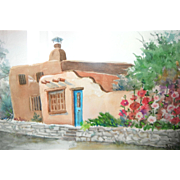 New Mexico Adobe & Garden Original Watercolor by Ann Blanchard of Cloudcroft, NM.