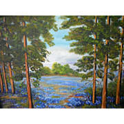 "Texas Hill Country ""Tall Pines"" with Bluebonnets and Indian Paintbrush Original Oil Painting by Georgia Nitschke (1970)"