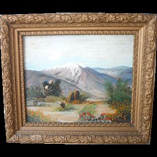 Southwestern Arizona~New Mexico Desert Mountain Landscape Original Oil Painting by M. Davidson