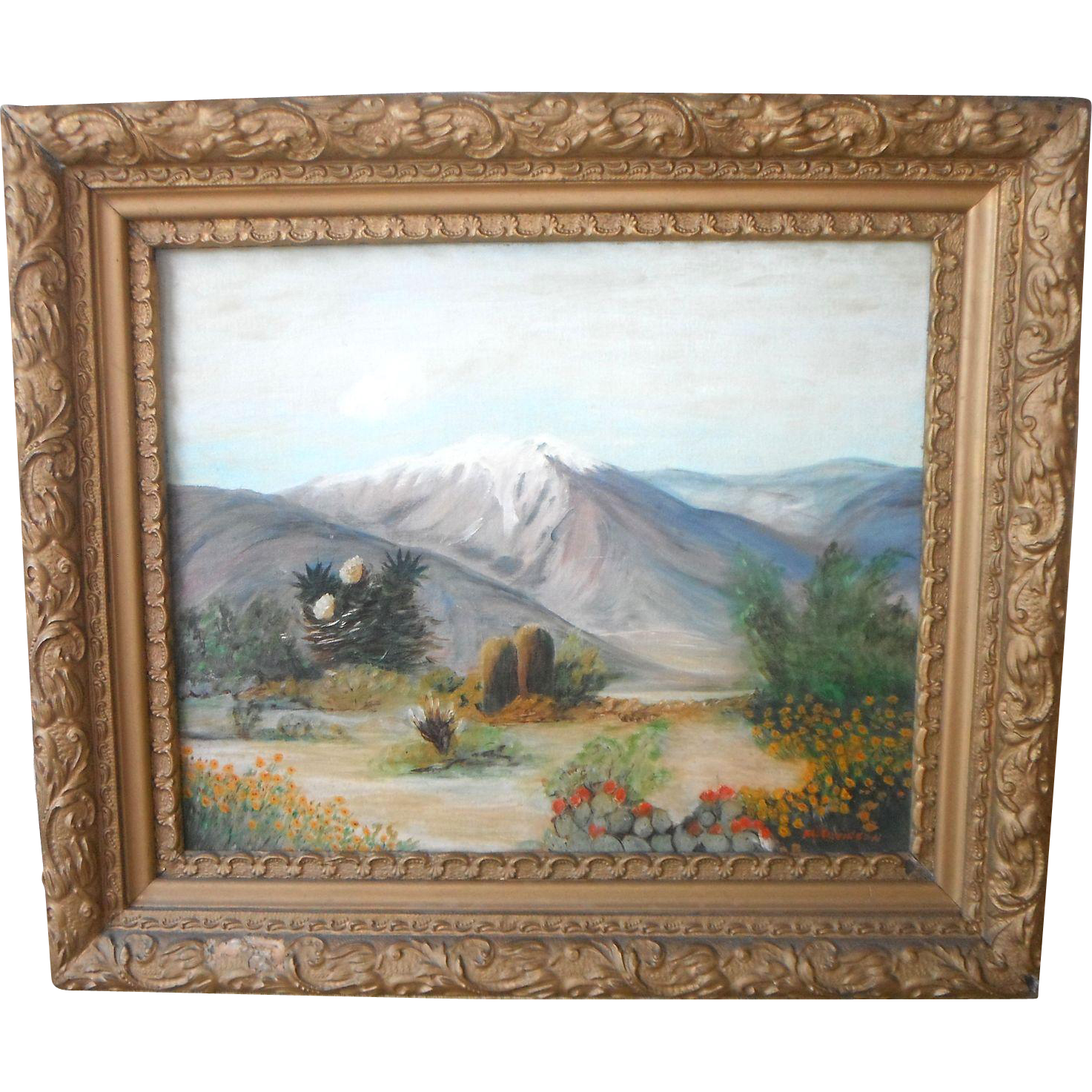 Southwestern Arizona~New Mexico Desert Mountain Landscape Original Oil Painting by M. Davidson
