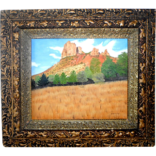 Texas Palo Duro Canyon Original Oil on Board Painting by Listed Texas Artist Elmo Whitley (1913-2003)