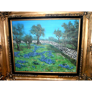 Texas Hill Country Bluebonnets and Stone Wall Original Oil Painting by John Walters (1987)