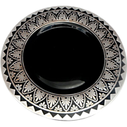 Spectacular Signed - Rockwell - Ebony Black Amethyst Plate Sterling Overlay