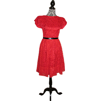 Vintage 1950s Red Chantilly Lace Dress Red Party Dress Size Small