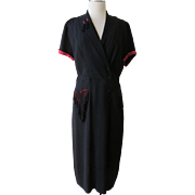 Vintage 1940s Norman Rosen Original Dress Black Crepe with Red detailing Black Fringe Tassels Sz L