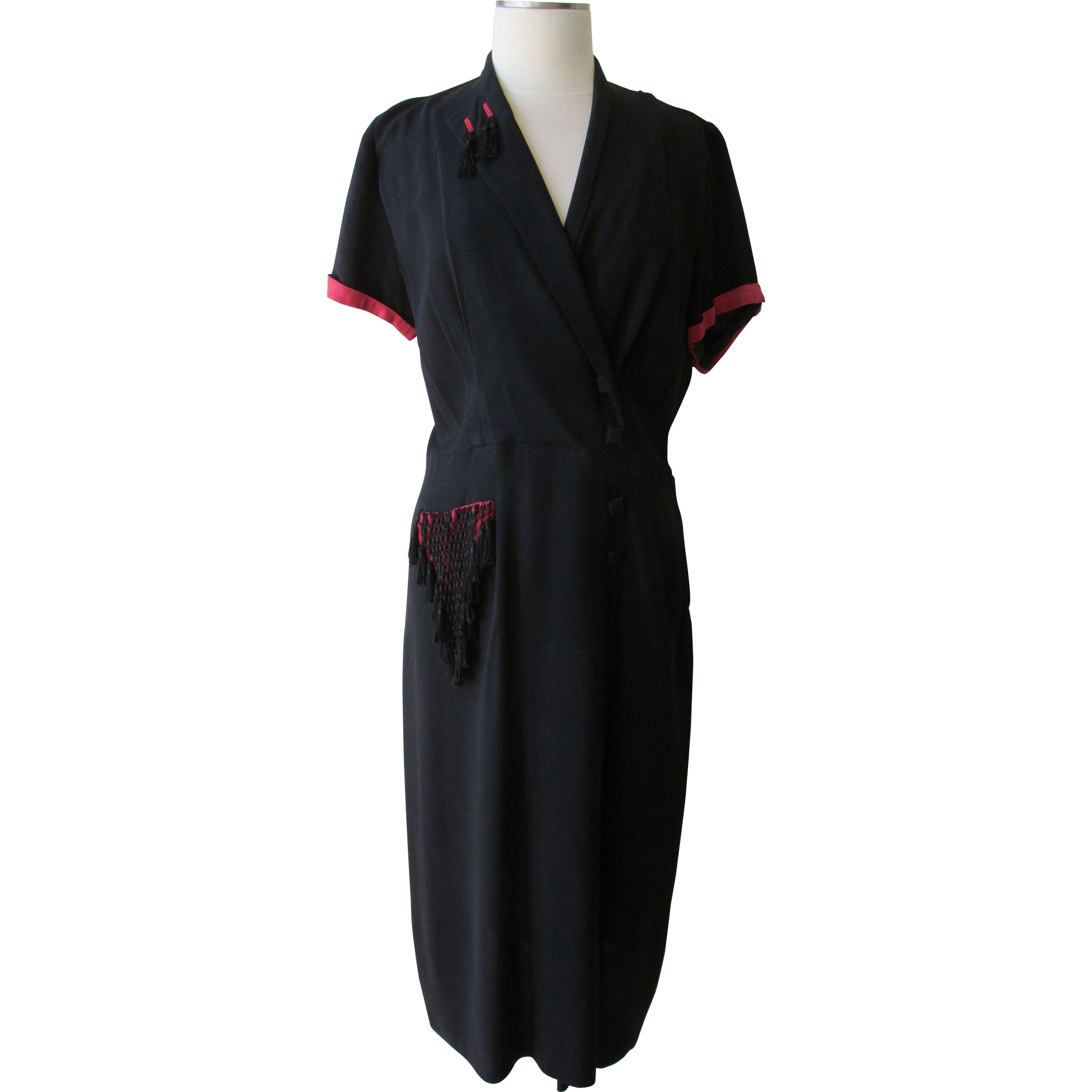 Vintage 1940s Norman Rosen Original Dress Black Crepe with Red detailing Black Fringe Tassels Sz L