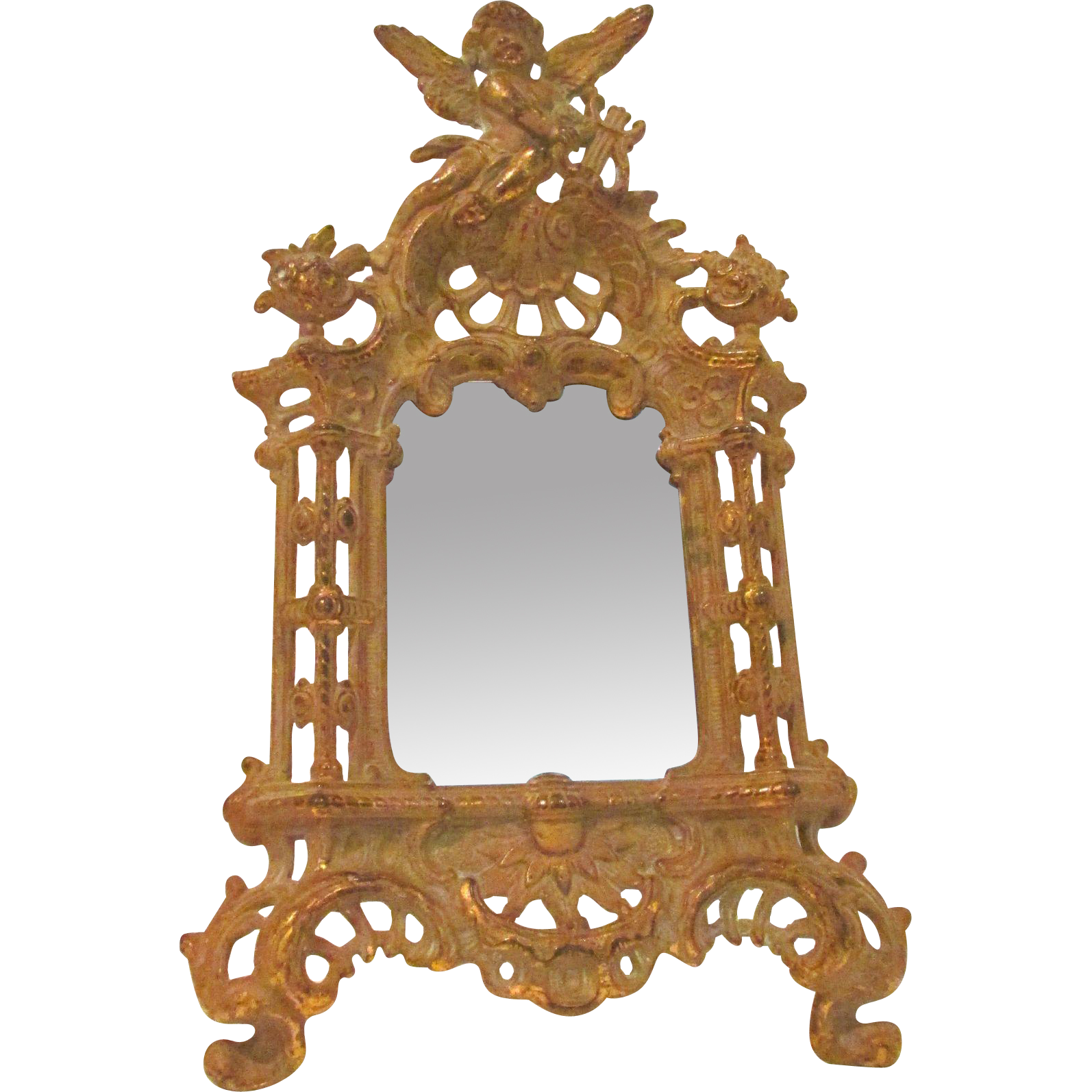 Art Nouveau ~ Beatrice ~ Antique Cherub Framed Ornate Easel Mirror or Picture Frame with Amazing Patina