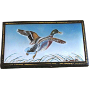 Vintage Anton Zaic Signed and Dated 1947 Leather Covered Wooden Box with Hand Painted Mallard Duck in Flight on Porcelain Tile