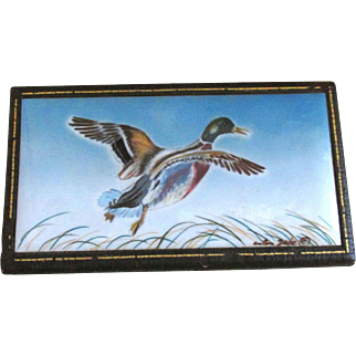 Rare Vintage Leather Covered Wooden Box with Hand Painted Mallard Duck in Flight on Porcelain Tile by Anton Zaic Signed and Dated 1947