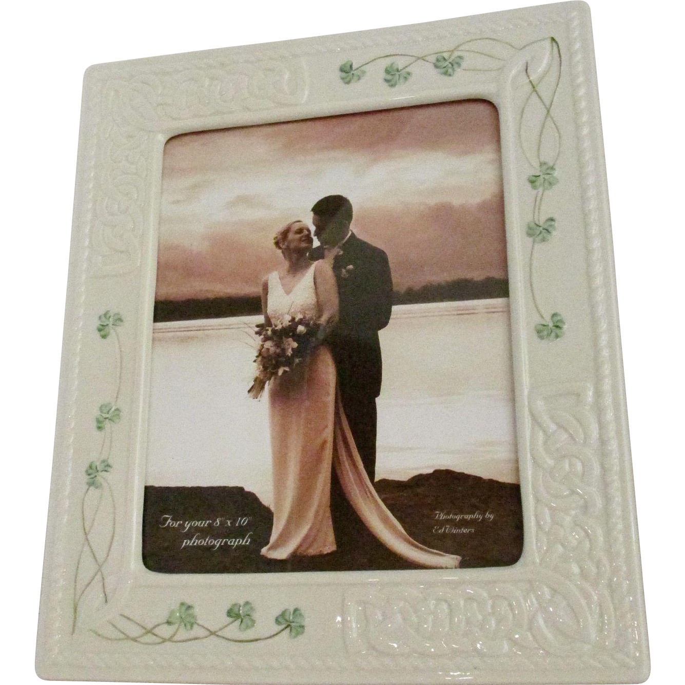 Spectacular! Belleek ~ Tara ~ Irish Hand Painted Fine Parian China Picture Frame 8 x 10 Celtic Knots & Shamrocks St. Patrick's Day Photo Frame