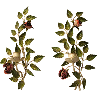 Exquisite S. Salvadori Firenze Hand Painted Italian Tole Romantic Rose Wall Sconces Vintage MidCentury Collectible Candleholders