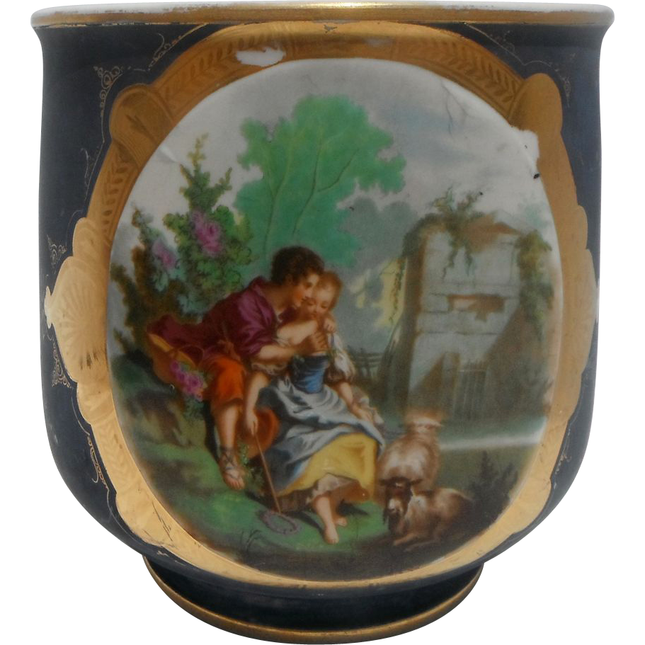 Antique Porcelain French Jardiniere - Cache Pot Romantic Scene