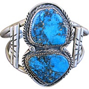 Roger Skeet Jr. Signed & Hallmarked Navajo Sterling Silver Bracelet with Morenci Turquoise from New Mexico