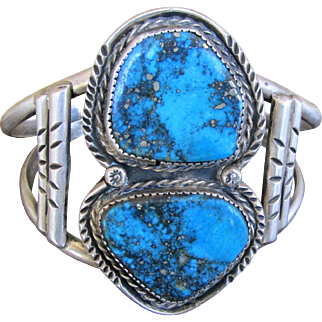 Stunning! Sterling Silver Bracelet with Morenci Turquoise by Navajo artisan Roger Skeet Jr. Signed & Hallmarked