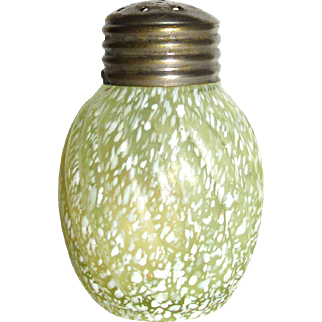 Scarce Victorian Art Glass Canary * Vaseline Shaker Northwood * Buckeye * Model Flint Company Glass Reverse Swirl Speckled Pattern