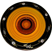 Vintage Amber ~ Citrine Glass Cake Stand ~ Cake Pedestal with Hand Painted Black Trim and Flowers