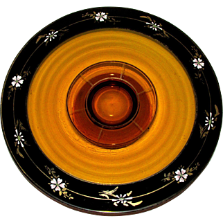 Lovely! Vintage Amber ~ Citrine Glass Cake Stand ~ Cake Pedestal with Hand Painted Black Trim and Flowers