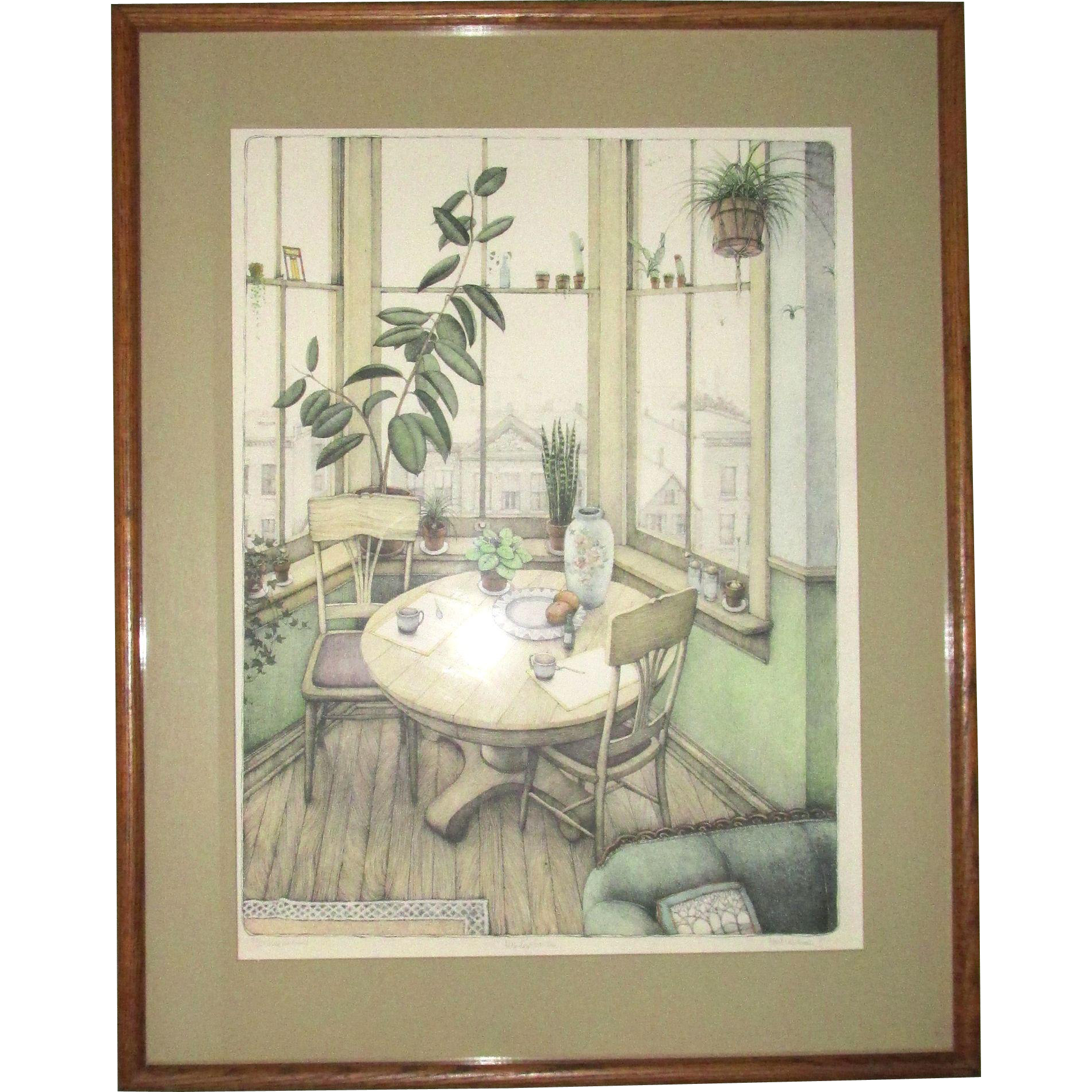"""Susan Hunt Wulkowicz """"Window Garden"""" Hand Colored Lithograph 30"""" x 19"""" Number 79/250 Signed and Dated 1980"""