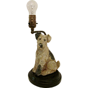 Vintage Wire Fox Terrier ~ Airedale ~ Schnauzer Dog Lamp with Glass Eyes