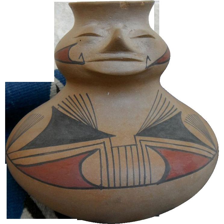 Mata Ortiz Casas Grandes Paquime Revival Pottery Hand Coiled Cara Olla by Reynaldo Pechegon Lujan