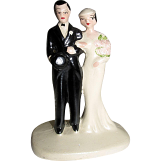 Spectacular! True Vintage Bride & Bride Groom Wedding Cake Topper