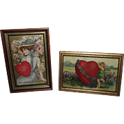 Enchanting Pair of Framed True Vintage Valentine's