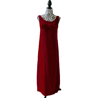 Stunning! Vintage Designer Labeled GALE MITCHELL 1960s Red Velvet Rose EVENING GOWN ~ Fabulous for VALENTINE'S DAY!