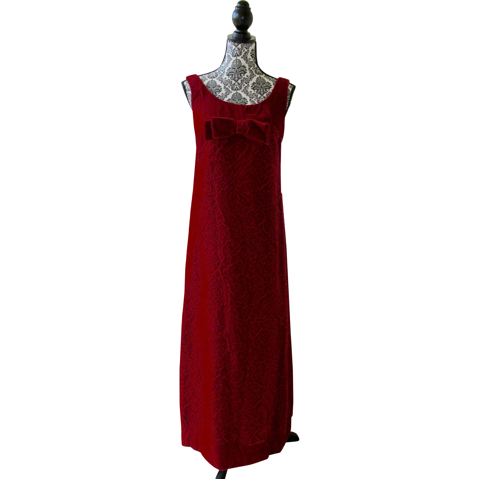 Vintage Designer Labeled GALE MITCHELL 1960s Red Velvet Rose Evening Gown ~ Fabulous for CHRISTMAS or VALENTINE'S DAY!