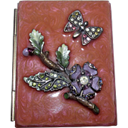 Jay Strongwater Signed Guilloche Enamelled Coral Miniature Picture Frame Compact with Enchanting Floral & Butterfly Motif Swarovski Crystal Accents