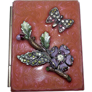 Jay Strongwater Signed Guilloche Enamelled Miniature Picture Frame Compact with Enchanting Floral & Butterfly Motif Swarovski Crystal Accents