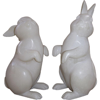 Hand Carved Italian Alabaster Easter Bunnies