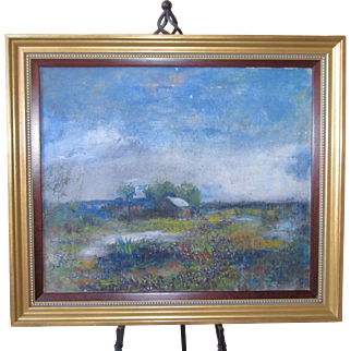 Texas Hill Country Impressionist Large Folk Art Painting of an Old Metal Roofed Homestead & Blue Bonnet Landscape