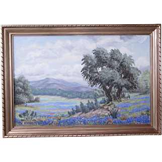 Mae Barbee Bruening (1908-1994) ~ Listed Texas Artist ~ Large Enchanting Texas Hill Country Bluebonnet Landscape Original Oil Painting