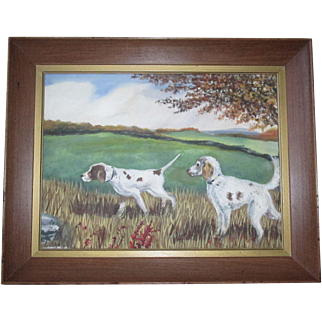 Charming Mid-Century Folk Art Original Painting of Two Pointer Hunting Sporting Dogs signed by the Artist