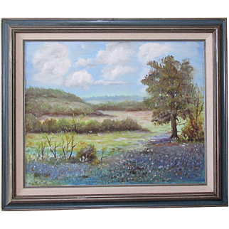 Texas Hill Country Impressionist Bluebonnet Landscape Original Oil Painting by V. Lacher