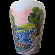 Vintage Texas Bluebonnet Vase Hand Painted by San Juan Art Pottery San Antonio Texas