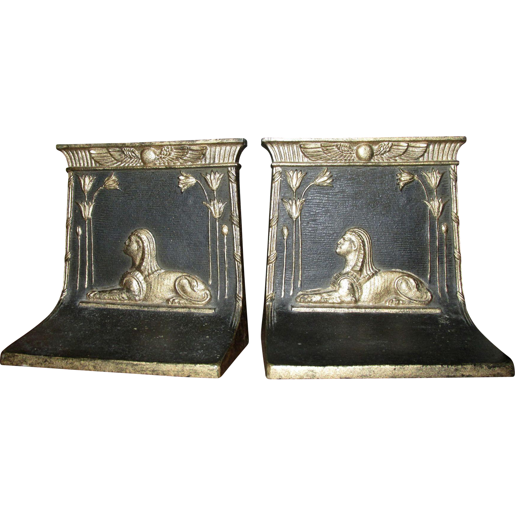 Vintage Bradley & Hubbard Stamped Art Deco 1920s Egyptian Revival Sphinx Bookends