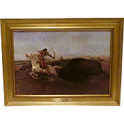 Indians Hunting Buffalo by Charles M. Russell - Framed Print on Canvas by Sid Richardson Collection of Western Art
