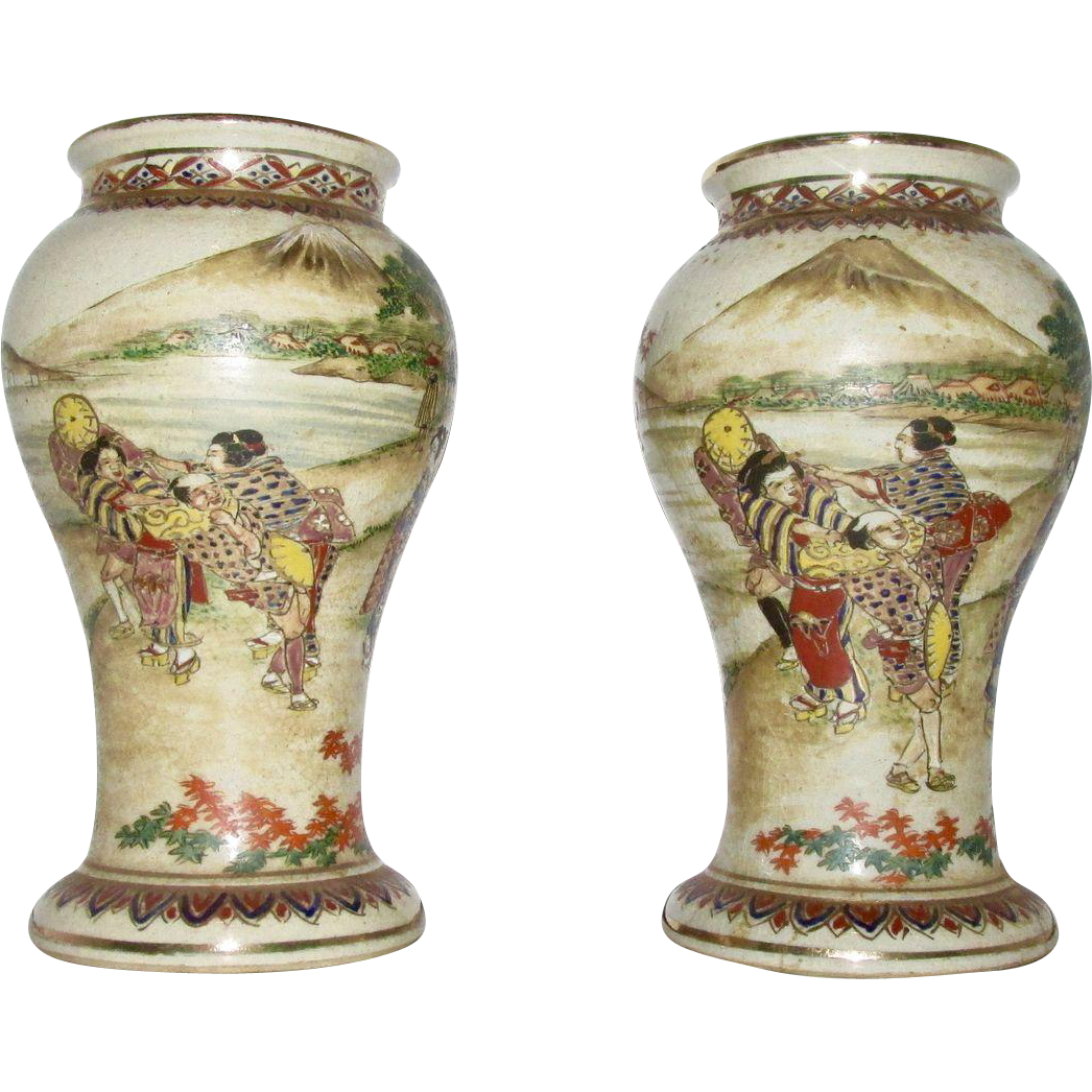 Vintage Japanese Hand Painted Satsuma Vases with Geisha & Mt. Fuji