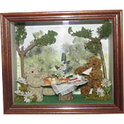 "Vintage Miniature Teddy Bears ""Country Folk"" Shadow Box Diorama Handmade in The Cotswolds"