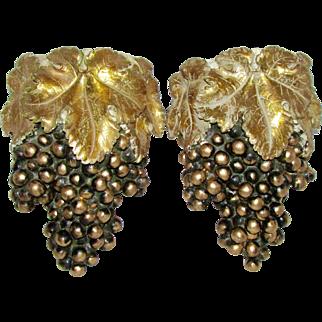 Vintage Mid Century Italian Gold Leaf Black Grape Cluster Plaster of Paris Wall Pockets