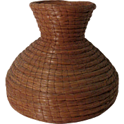 "Vintage American Longleaf Pine Needle Coil Basket 11 3/4"" h x 12 w"