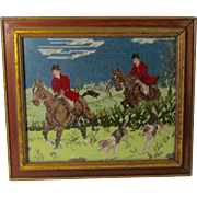 Vintage Fox Hunting Scene Framed Crewel Wool Embroidery Lexington, Kentucky Estate Find Signed Jean Dreifus