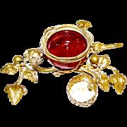 Antique French La Belle Epoque Cranberry Glass Gilt Ormolu Birds Nest Dresser Trinket Jewelry holder