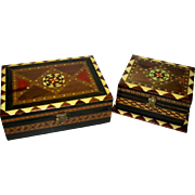 Vintage Spanish Taracea Marquetry Wooden Mosaic Inlay Boxes