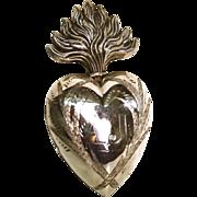 "Large Antique Nineteenth Century Silver Ex Voto Reliquary ""Ave Jesus"""