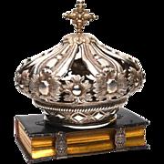 Exceptional Antique Nineteenth Century Italian Silvered Metal Santos Crown