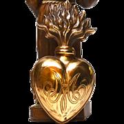 Fine Antique Nineteenth Century Gilded Bronze Flaming Sacred Heart Ex Voto Reliquary